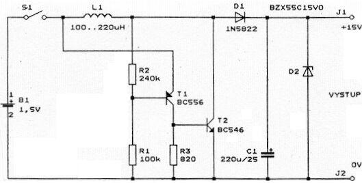Schéma: Menič z 1,5V na 15V