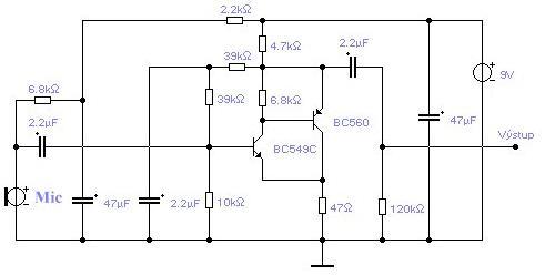 Schéma: Mikrofónový predzosilovač