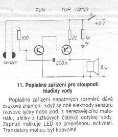 Schéma: Poplašné zariadenie pre stúpanie hladiny vody