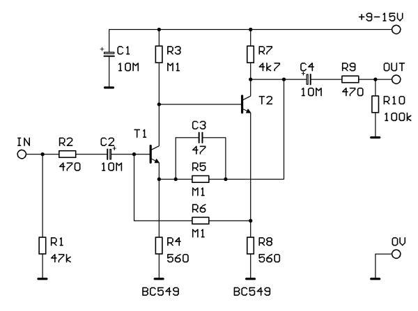 Schéma: Predzosilovač pre dynamický mikrofón