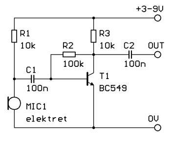 Schéma: Predzosilovač pre elektretový mikrofón