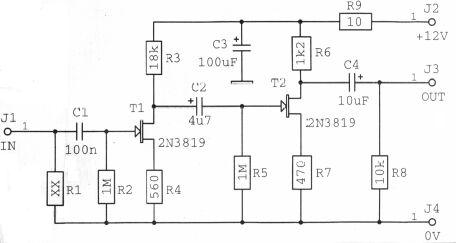 Schéma: Predzosilovač s tranzistormi JFET