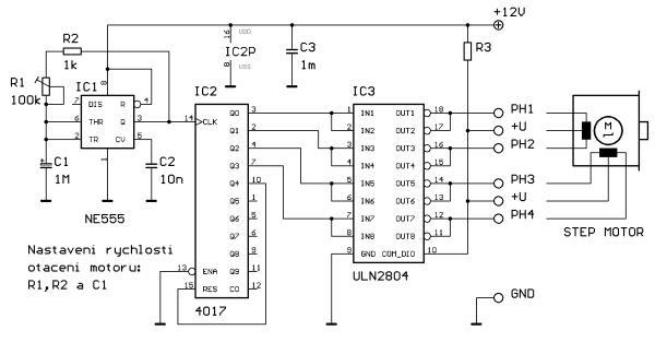 Schéma: Riadenie otáčok krokových motorov