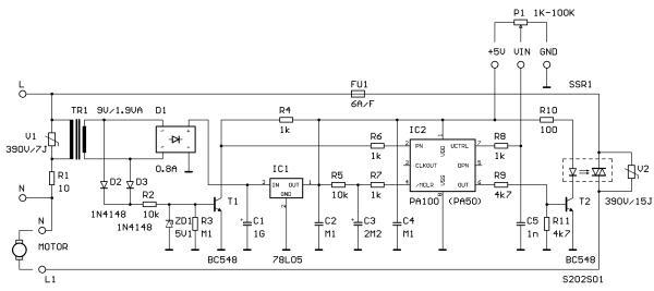 Schéma: Riadenie otáčok univerzálnych motorov