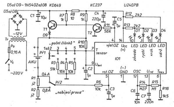 Schéma: Rýchlo nabíjačka akumulátorov