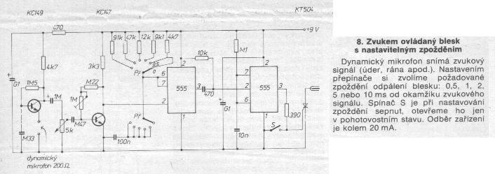 Schéma: Zvukové ovládanie stroboskopu